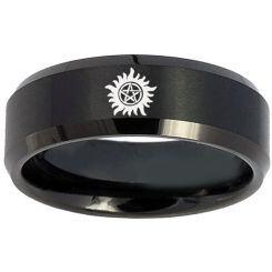 COI Black Titanium Supernatural Beveled Edges Ring - 4673
