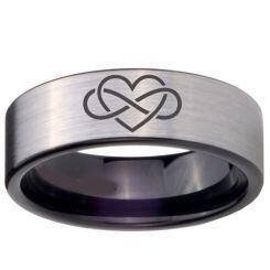 COI Titanium Black Silver Infinity Heart Pipe Cut Flat Ring-4675