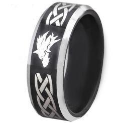 *COI Titanium Black Silver Celtic Wolf Beveled Edges Ring - 4677