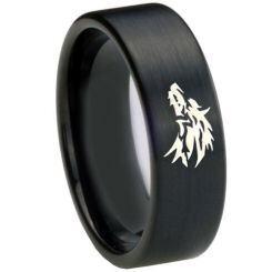 COI Black Titainum Wolf Pipe Cut Flat Ring - 4688