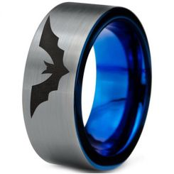 COI Titanium Blue Silver Bat Pipe Cut Flat Ring - 4698