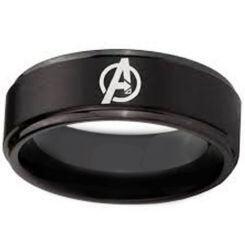 COI Black Titanium Marvel Avengers Step Edges Ring - 4702