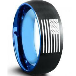 COI Titanium Black Blue American Flag Dome Court Ring-5009