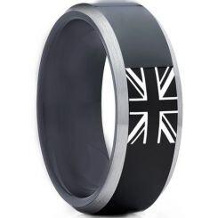 COI Titanium Black Silver Ring With Britain Flag-5012