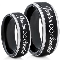 COI Titanium Black Silver Ring With Custom Names Engraving-5013