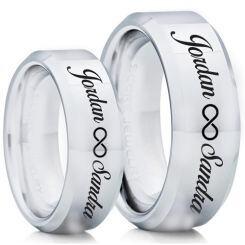 COI Titanium Beveled Edges Ring With Custom Names Engraving-5014
