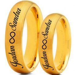 COI Gold Tone Titanium Ring With Custom Names Engraving-5016
