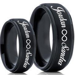 COI Black Titanium Custom Engraving Step Edges Ring-5020