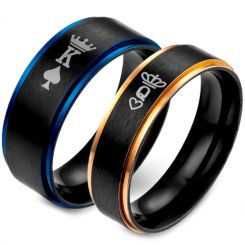 *COI Titanium Black Blue/Rose King Queen Crown Ring-5053