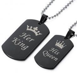 COI Black Titanium King Queen Crown Pendant-5064