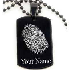 COI Black Titanium Pendant With Custom FingerPrint-5070