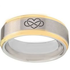 *COI Titanium Gold Tone Silver Infinity Heart Step Edges Ring-2094