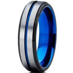 COI Titanium Black Blue Center Groove Beveled Edges Ring-5189
