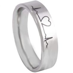 *COI Titanium Heart & Heartbeat Pipe Cut Flat Ring-5157