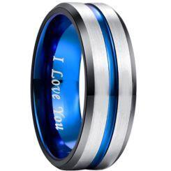 **COI Titanium Black Blue Center Groove Beveled Edges Ring-5189