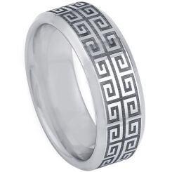 *COI Titanium Greek Key Beveled Edges Ring-5200