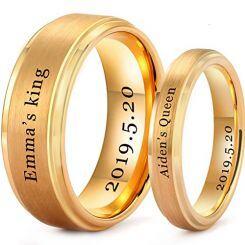 *COI Gold Tone Titanium King Queen Step Edges Ring-5201