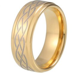 COI Gold Tone Titanium Celtic Step Edges Ring-5212