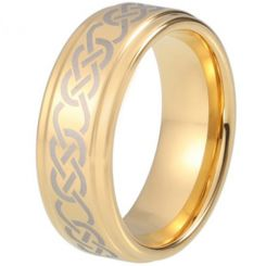 COI Gold Tone Titanium Celtic Step Edges Ring-5213