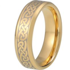 COI Gold Tone Titanium Celtic Beveled Edges Ring-5217