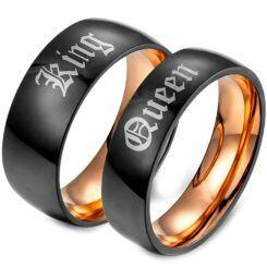 *COI Titanium Black Rose King Queen Dome Court Ring-679AA