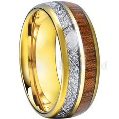 COI Titanium Meteorite & Wood Dome Court Ring - JT1551AA