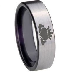 COI Titanium Black Silver Mo Anam Cara Pipe Cut Flat Ring - 850