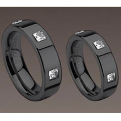 COI Black Titanium Ring With CZ- 983 (US5)