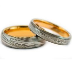 COI Titanium Gold Tone Silver Damascus Dome Court Ring-999