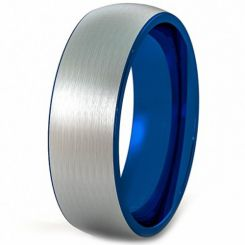 COI Titanium Blue Silver Dome Court Ring - JT930AA
