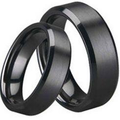 COI Black Titanium Beveled Edges Ring - JT1536AA