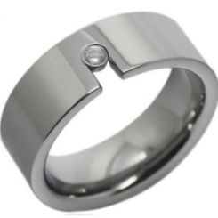 *COI Titanium Pipe Cut Flat Ring With Cubic Zirconia-JT2312AA