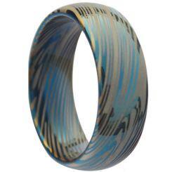 *COI Titanium Blue Silver Damascus Dome Court Ring - JT258AA