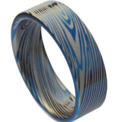 *COI Titanium Blue Silver Damascus Pipe Cut Flat Ring - JT1373AA