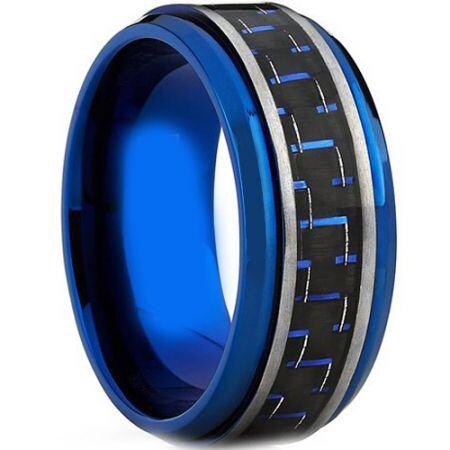 COI Blue Titanium Step Edges Ring With Carbon Fiber-JT1300
