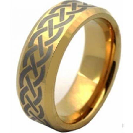 COI Gold Tone Titanium Beveled Edges Wedding Band Ring - JT1552A
