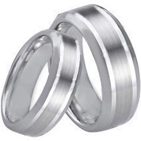 COI Titanium Double Lines Beveled Edges Ring - 4034