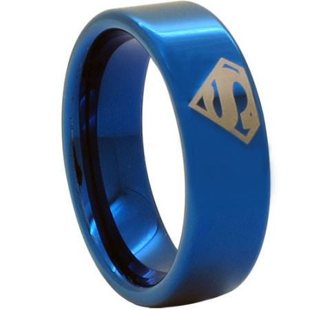 COI Blue Titanium SuperMan Pipe Cut Flat Ring-JT1093CC