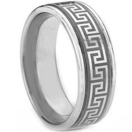 COI Titanium Greek Key Double Grooves Ring - 1269