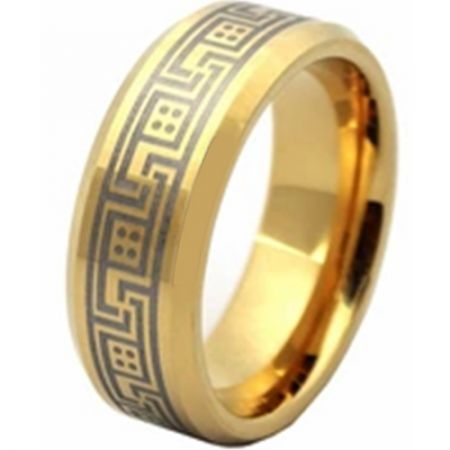 COI Gold Tone Titanium Greek Key Beveled Edges Ring - JT1982AA