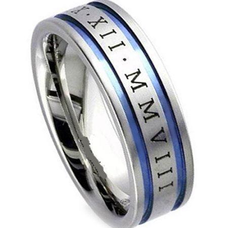 COI Titanium Double Grooves Custom Roman Numerals Ring-1999A