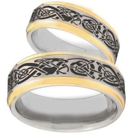 *COI Titanium Gold Tone Silver Dragon Step Edges Ring - 2166