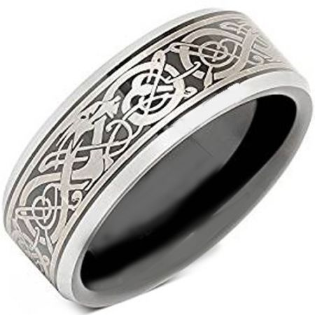 *COI Titanium Black Silver Dragon Beveled Edges Ring - JT2357BB