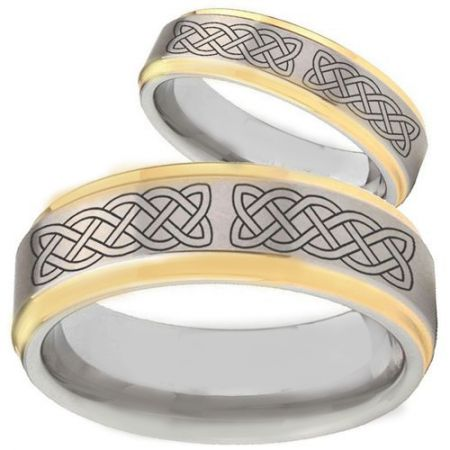 COI Titanium Gold Tone Silver Celtic Step Edges Ring - 2368