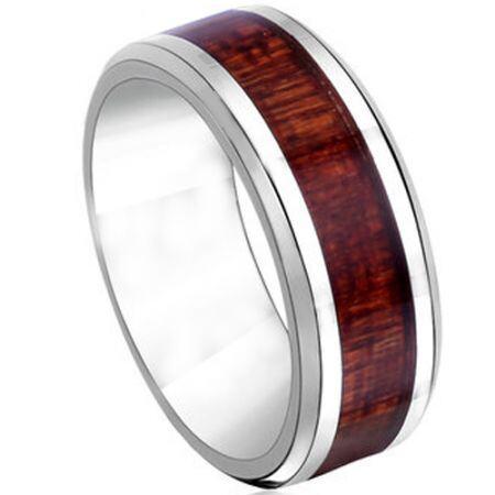 COI Titanium Beveled Edges Ring With Wood - JT2385