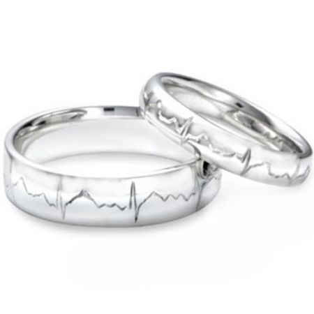 *COI Platinum White Titanium Heartbeat Dome Court Ring-JT2571