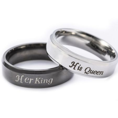 *COI Titanium Black/Silver King Queen Beveled Edges Ring - 2583