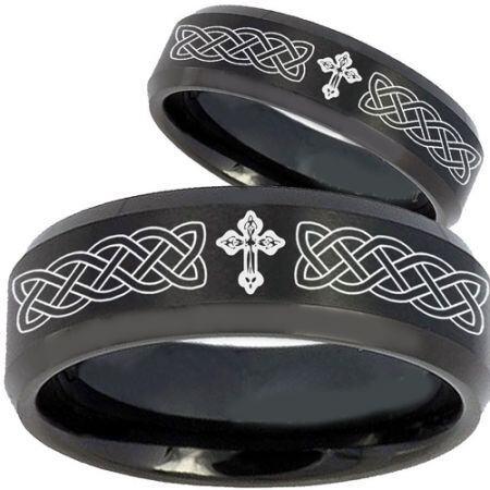 COI Black Titanium Celtic Cross Beveled Edges Ring - 2603