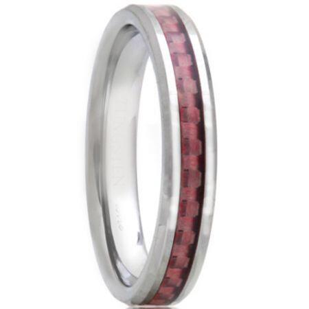 COI Titanium Beveled Edges Ring With Carbon Fiber - JT1462AA