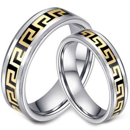 COI Titanium Black Gold Tone Greek Key Beveled Edges Ring-JT3675